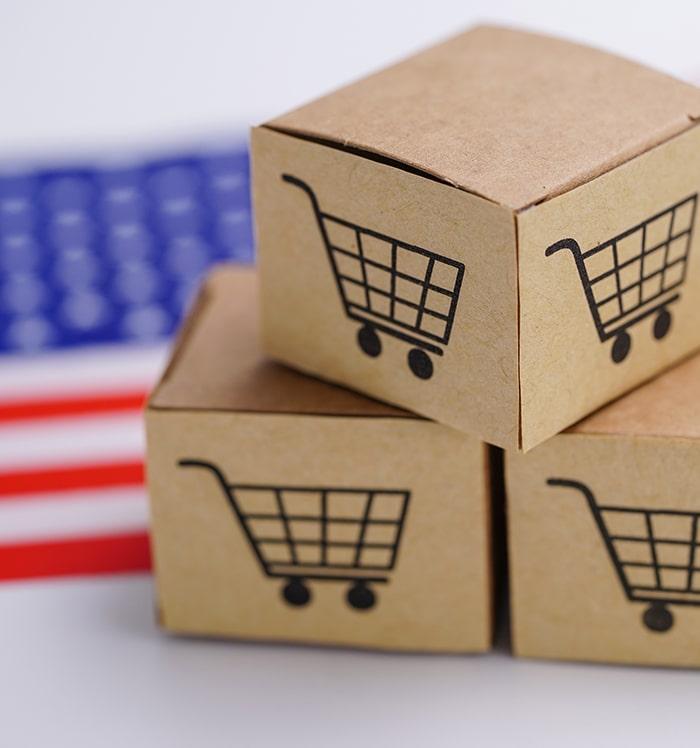 Shopping box and USA Flag